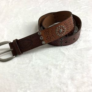 Fossil Brown Studded Belt